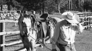 Cowboy leading a horse